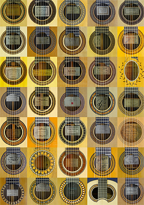 Rosettes and labels of fine classical guitars
