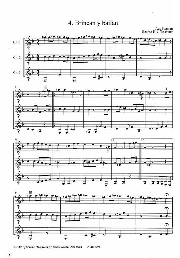 Spanische Weihnachtslieder.Teschner Hans Joachim Guitar Team Vol 3 Weihnachtslieder Für 3 Gitarren